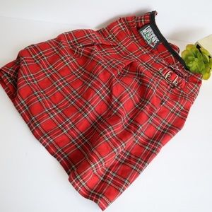 Lip Service red goth plaid plus size skirt size 16